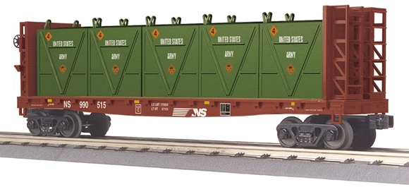 Picture of Norfolk Southern  Bulkhead Flatcar w/US Army LCL Containers