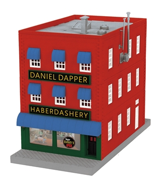 Picture of 3-Story City Building w/Fire Escape & Blinking Sign - Dapper Dan's Haberdashery